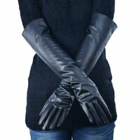 Women's Leather Elbow Gloves Winter Long Warm Lined Finger Mitten Hand Accessory