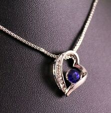 Silver Rhinestone Blue Gem Heart Pendant Necklace w/Free Jewelry Box/Shipping