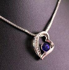 Silver Rhinestone Blue Gem Heart Pendant Necklace w/Free Jewelry Box/Shipping