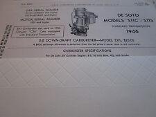 ORIGINAL 1946 DE SOTO S11C - S11S Carter Carbureter Spec