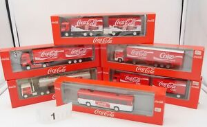 ALBEDO HO 1/87 LOT #1 - 6 x CAMIONS BUS MERCEDES VOLVO US .. COCA COLA COKE