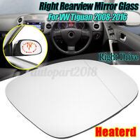 Right Side Door Mirror Glass W/ Heated Back Plate Clear For VW Tiguan 2008-2016