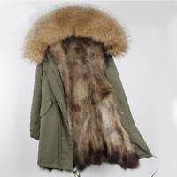 Damen Winter WaschbärPelz Jacke Echtes Waschbär Pelz Kragen Kapuze Outdoor Parka