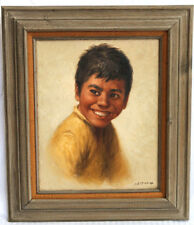 Original Oil Painting on Canvas - Laughing Boy Portrait Signed by Noel Espinoza
