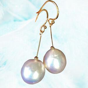 Nice 12mm Natural White Freshwater pearl Tassel Earrings High luster AAA+ 14KGF