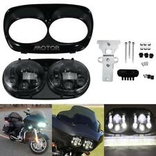 Dual LED Projector Headlight Daymaker Lamp For Harley Road Glide 2004-2013 Black