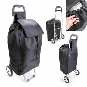 XL Foldaway Wheeled Shopping Trolley Grocery Laundry Bag Sturdy Metal Frame 46L