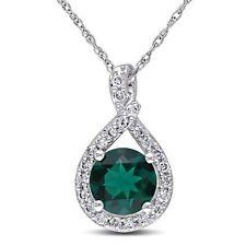 "10k White Gold 1 1/2 Ct TGW Emerald & 1/5 ct TDW Diamond Pendant Necklace 17"""
