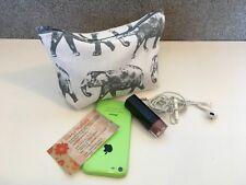 Elephants Beautiful Grey on white 18 x 14 x 12 x 5 Makeup, money Purse