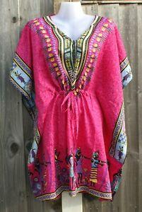 African Tribal Print Top Summer Kimono Hippie Kaftans Beach Party Dashiki Sarong