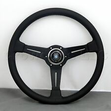 Nardi Steering Wheel 360 mm Black Smooth Leather Grey Stitch Classic Horn
