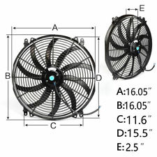 """16"""" 16 inch 12V PULL/PUSH Slim Radiator Cooling Thermo Fan & Mounting kits 160W"""