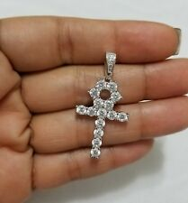 925 Sterling Silver Necklace Chain Round Cz  Stones Ankh Cross Charm Pendant