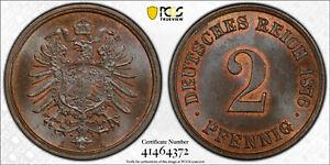 GERMANY EMPIRE 2 PFENNIG 1876 -A PCGS MS65BN