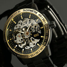 Skeleton Dial Automatic Mechanical Watch Men's Stainless Steel Wrist Watch+Box