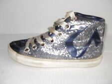 TRUE RELIGION WOMEN'S BLUE PATENT LEATHER/SPARKLE HIGH TOP SNEAKERS SIZE 8.5 M