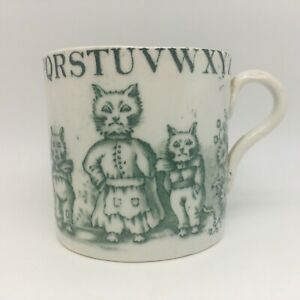 Antique Child's Mug ABC Cats Cockatoo Maud Louis Wain Allertons c. 1890 BIN