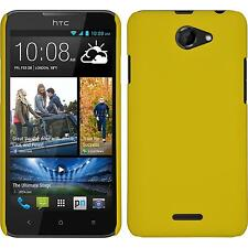 Hardcase HTC Desire 516 rubberized yellow Cover + protective foils