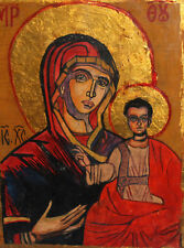 Orthodox Tempera On Wood Hand Painted Icon The Virgin Christ Child