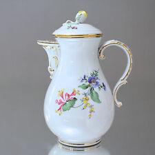 Meissen: Kaffeekanne Neuer Ausschnitt, Blume 3, bunte Blumenmalerei, 1,2 Liter