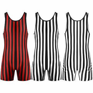 Mens Striped Wrestling Singlet Bodysuit Stretchy Leotard Jumpsuit Vest Underwear