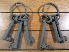 "6 rustic Cast Iron KEYS Brown 3"" 4"" on Ring skeleton lock style old west western"