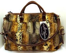 "Marlo Lorenz Paris Weekender Tote Travel Overnight Bag Faux Fur Brown 15"" NWT"