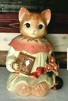Vintage Emily the Cat Cookie Jar Glass Eyes Kitty Pussycat Treat Canister