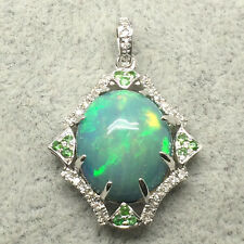 New 18K White Gold 10.9*12.9MM Natural Colorful Opal Diamond Tsavorite Pendant