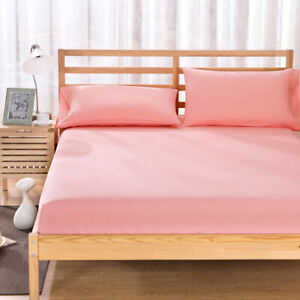 Full Fitted Solid Color Bedding Sheet Deep Pocket Flat Bedroom King Cover Decor