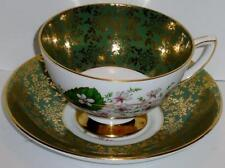 Royal Stafford Bone China Tea Cup and Saucer Set GREEN & GOLD with FLORAL SPRAY