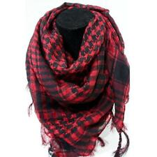 Cotton Scarf with Fringe Red & Black (Lightweight) | Free Post