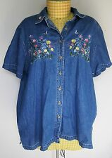 Womens Plus Bobbie Brooks Demin Embroidered Butterfly Top Blouse Shirt 22/24W