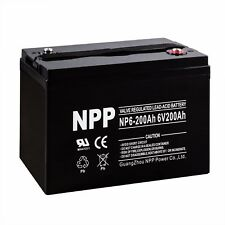NPP 6V 200Ah AGM Deep Cycle Battery replaces UPG UB62000 Power-Sonic PS-62000