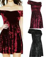 Quiz Womens Ruby Red or Black Velvet Off Shoulder Bardot Skater Party Dress