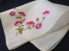 #5098🌟Vintage Cutter Swiss Purple Oriental Poppies Embroidery Handkerchief