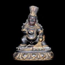 china Tibet Stone carving Buddhism Black Jambhala Buddha Statue 20CM