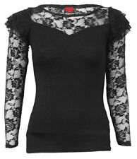 Spiral Direct GOTHIC ELEGANCE Womens Lace Layered Long Sleeve Top/Rock/Clothing