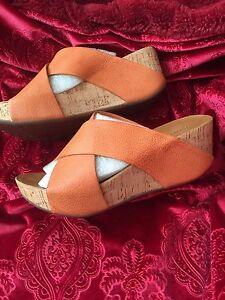 NWB, Chocolat Blu Melissa Orange Leather Cork Wedge Platform Sandal Slide Sz.8.5