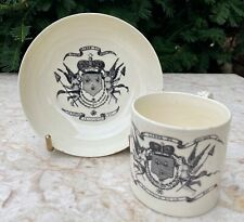Antique c.1790 Leeds Creamware Cup and Saucer Bowl w French Revolution Transfer