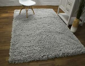 Super Area Rugs Contemporary Modern Plush Soft Shag Solid Area Rug in Silver