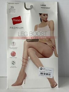 Hanes Women's Premium Leg Boost Cellulite Smoothing Size Large Transparent
