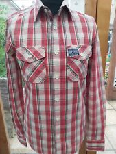 SUPERDRY Red & Crean Check Long Sleeved SHIRT Size Small