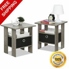 Bedroom Bedside Furniture Nightstand End Table Shelf Drawer Grey Set of 2 NEW