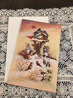 Vintage Greeting Card Christmas Animals Manger Birds