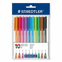 Staedtler 43235MPB10, Stationery, Rainbow Ball Pens, Pack of 10, Assorted Colour