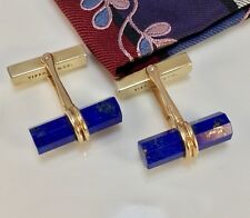 TIFFANY&CO 18K LAPIS LAZULI BATON CUFFLINKS EXCELLENT VINTAGE CONDITION