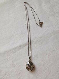 Sterling Silver Cute Leaf Locket Pendant Necklace