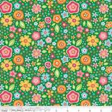 Sunshine Main Green Kinderstoff Stoffe Patchwork Blumen Patchworkstoff Baumwolle