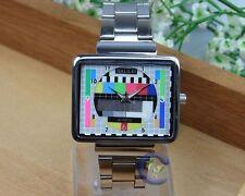 Tv test Logo steel watch rétro style vintage a levé montre-bracelet
